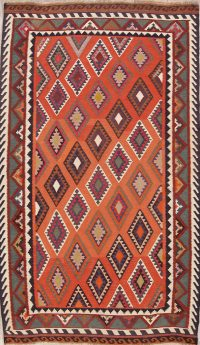 Red Geometric Kilim Shiraz Persian Runner Rug 5x9