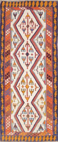 Vegetable Dye Flat-Weave Tribal Kilim Shiraz Persian Runner Rug 4x10