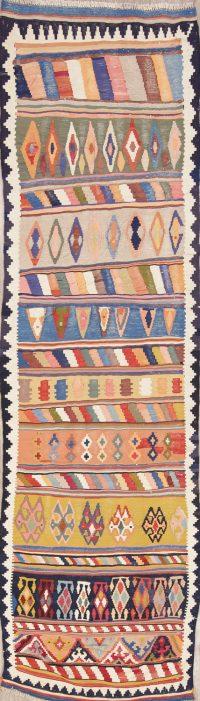 Antique Geometric Kilim Shiraz Persian Runner Rug 3x11