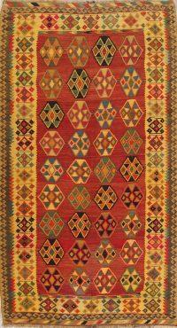 Red Geometric Kilim Shiraz Persian Runner Rug 5x10