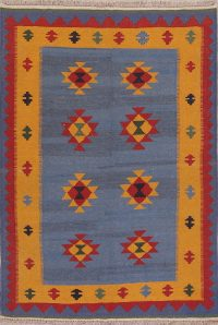 Blue Geometric Kilim Shiraz Persian Area Rug 4x6