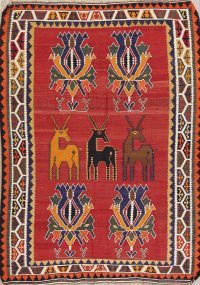 Red Animal Pictorial Kilim Shiraz Persian Area Rug 5x7