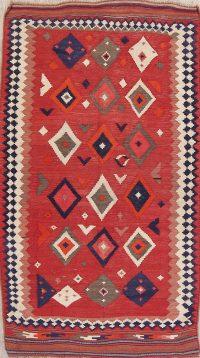 Red Geometric Kilim Shiraz Persian Area Rug 4x8