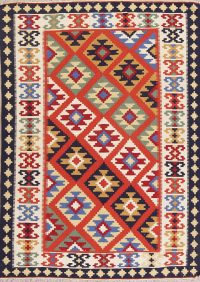 Orange Geometric Kilim Shiraz Persian Area Rug 5x7