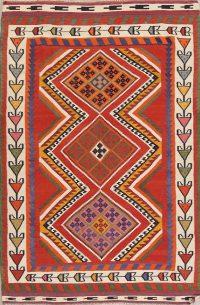 Orange Geometric Kilim Shiraz Persian Area Rug 5x8