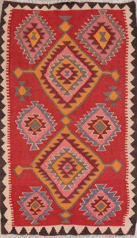 Red Geometric Kilim Shiraz Persian Area Rug 4x7
