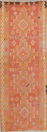 Pink Geometric Kilim Shiraz Persian Runner Rug 5x13
