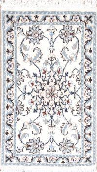 White Floral Nain Persian Wool Rug 2x3