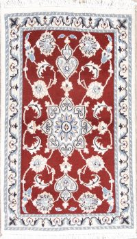 Red Floral Nain Persian Wool Rug 2x3