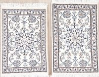 Pair of Two White Floral Nain Persian Wool Rug 2x3