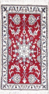 Red Floral Nain Persian Wool Rug 2x3