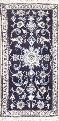 Navy Blue Floral Nain Persian Runner Rug 2x5