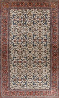 Antique Ivory Floral Isfahan Persian Area Rug 12x19