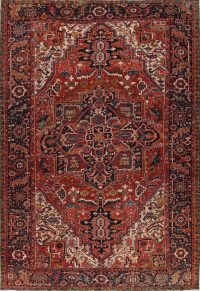 Red Geometric Heriz Persian Area Rug 9x13