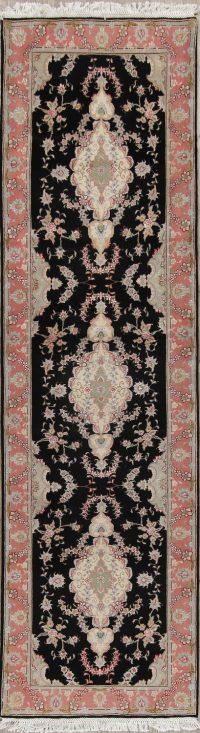 Black Floral Tabriz Persian Runner Rug 3x10