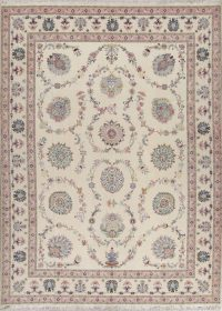 Ivory Floral Tabriz Persian Area Rug 10x13