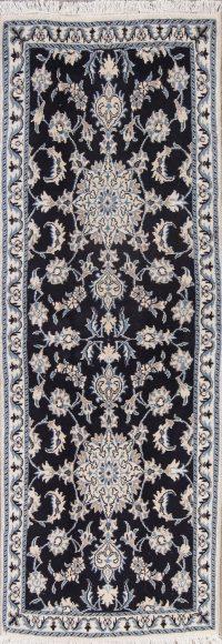 Navy Blue Floral Nain Persian Runner Rug 3x7