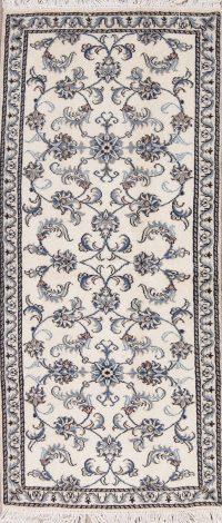 Ivory Floral Nain Persian Runner Rug 3x6