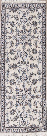 Ivory Floral Nain Persian Runner Rug 3x7