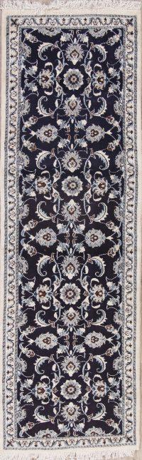 Navy Blue Floral Nain Persian Runner Rug 3x8