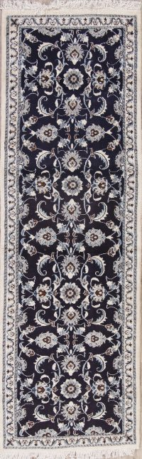 Navy Blue Floral Nain Persian Runner Rug 3x8