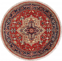 Geometric Heriz Indian Oriental Round Rug 4x4