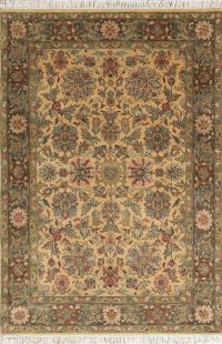 Gold Floral Agra Indian Oriental Area Rug 4x6