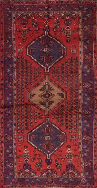 Red Geometric Hamedan Persian Area Rug 4x7