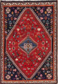 Red Tribal Qashqai Persian Area Rug 4x6
