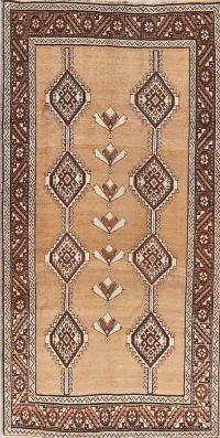 Brown Geometric Gabbeh Shiraz Persian Area Rug 4x8