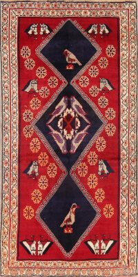 Red Animal Pictorial Gabbeh Shiraz Persian Area Rug 4x8