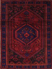 Red Geometric Hamedan Persian Area Rug 5x7