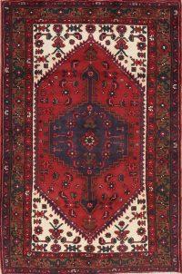 Red Tribal Geometric Hamedan Persian Area Rug 4x6