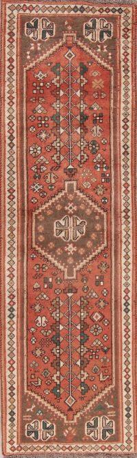 Red Geometric Abadeh Persian Runner Rug 2x8
