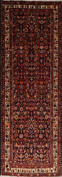 Charcoal Geometric Hamedan Persian Runner Rug 4x11