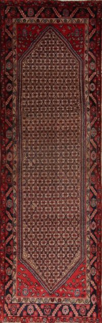 Brown Geometric Koliaei Persian Runner Rug 3x10