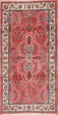 Pink Floral Sarouk Persian Wool Rug 2x4