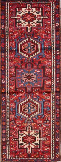 Red Geometric Tribal Gharajeh Persian Runner Rug 2x6