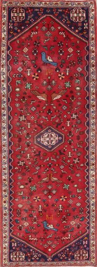 Red Tribal Abadeh Persian Runner Rug 2x7
