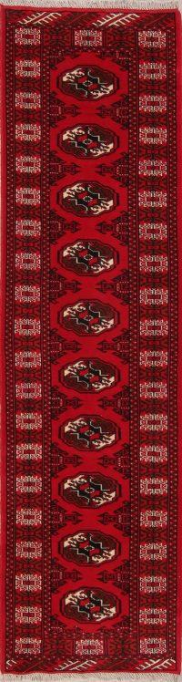 Red Geometric Balouch Oriental Runner Rug 3x10