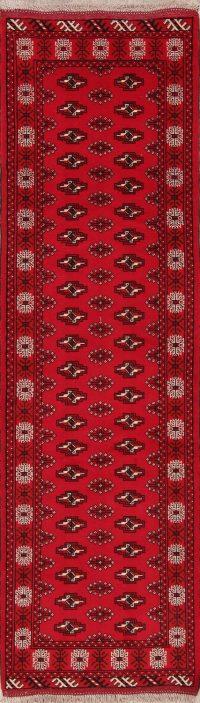 Red Geometric Balouch Oriental Runner Rug 3x9