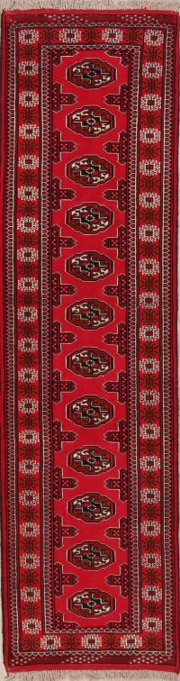 Red Geometric Balouch Oriental Runner Rug 3x9
