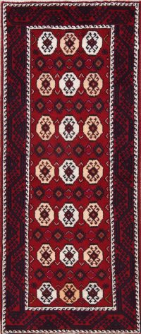 Red Geometric Balouch Bokhara Oriental Runner Rug 3x10