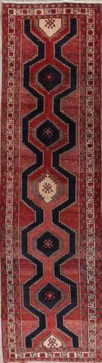 Red Geometric Ardebil Persian Runner Rug 3x12