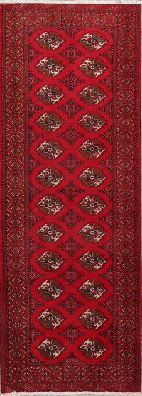 Red Geometric Balouch Oriental Runner Rug 4x9