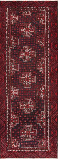 Red Geometric Balouch Oriental Runner Rug 4x10