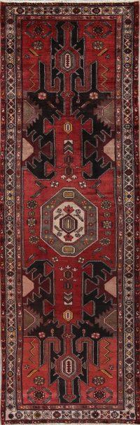 Red Geometric Bakhtiari Persian Runner Rug 3x11