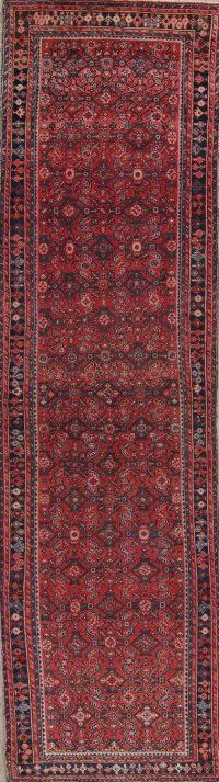 Red Geometric Hamedan Persian Runner Rug 4x15