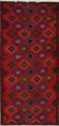 Red Geometric Mahal Persian Runner Rug 4x8