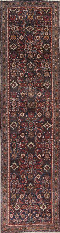 Black Antique Geometric Heriz Persian Runner Rug 4x14
